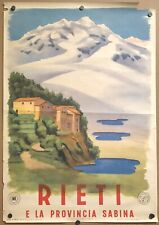 Original Vintage Poster RIETI Italy Italian Airline Railroad Travel Tourism 1947