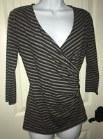 ANN TAYLOR Surplice Faux Wrap 3/4 Sleeve Top Charcoal Gray Stripe Sz SMALL EUC