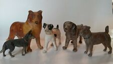 Lot, 5 Antique Dog Figures Toys, Metal Composition, Terrier Shepard Collie Putz
