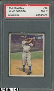 "1950 Bowman #22 Jackie Robinson Brooklyn Dodgers HOF PSA 7 "" LOOKS NICER """