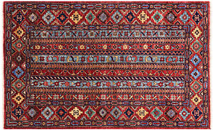"""Gabbeh Shall Hand-Knotted Rug 3' 2"""" X 5' - Q5051"""