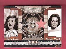 NATALIE WOOD & Bette Davis WORN SWATCH MATERIALS RELIC CARD #d99 2011 AMERICANA