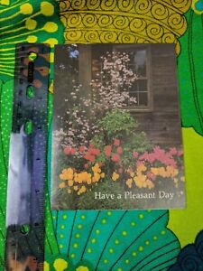 Greeting Card Unused Have A Pleasant Day Floral, Rustic Cabin