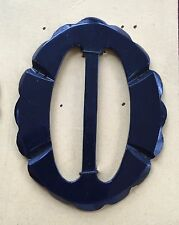 Vintage Buckles - 1950's French Oval Midnight Blue Carved Edge Casein Buckle