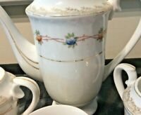 OCCUPIED JAPAN  TEA POT SET CREAMER SUGAR BOWL NO LID 6 SMALL CUPS & SAUCERS