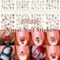 12Sheets Christmas 3D Nail Art Stickers Snowflakes & Cute Snowmen Nail Decals