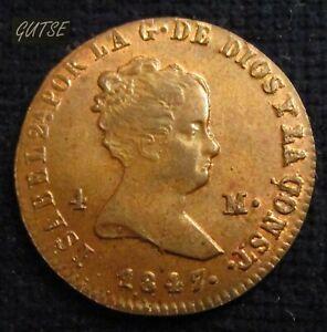 SPAIN, 692-ISABEL II, 4 MARAVEDÍS 1847, JUBIA Jª, UNCIRCULATED.
