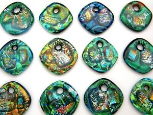 ONE HOLE 12 pcs DICHROIC FUSED GLASS for pendant (M6) CAB FOCAL BEADS KEY CHAIN