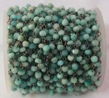 10 Feet Natural Amazonite Faceted 3-4mm Beads, Rosary Beaded Chain Oxidized Wire