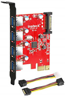 Inateck Superspeed 4 Ports PCI-E to USB 3.0 Expansion Card - Interface USB 3.0 [