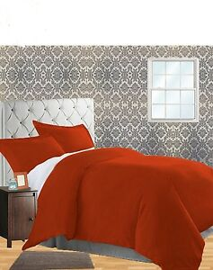 Yves Delorme Triomphe Coral King Duvet Set Orange Solid 100% Egyptian Cotton NEW