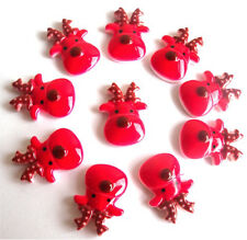 10 CHRISTMAS RED REINDEER FLATBACK KITCH CABOCHONS RESIN DECODEN - FAST SHIPPING