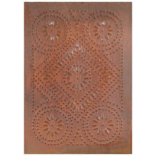 Country new distressed rusty punch tin DIAMOND design cabinet panel / 14 x10
