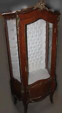 Antique French Louis XIV Style Ormolu Mounted Vitrine with Tufted Back