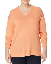 MARINA RINALDI Women's Orange Addetto V-Neck Sweater $265 NWT