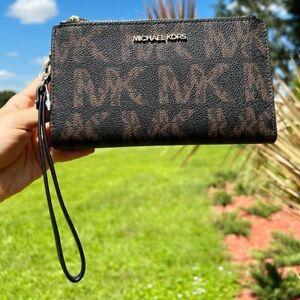 Michael Kors Jet Set Double Zip Phone Wristlet Wallet MK Signature Black Brown