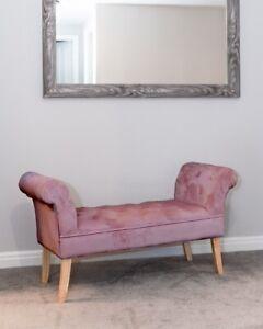 Luxurious Velvet Upholstered Bench Seating Window Seat Bedroom Grey Pink