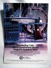 COLT ~ COLT'S 1911 A1 GOVERNMENT MODEL~  ORIGINAL MAGAZINE ADVERTISEMENT PAGE