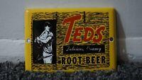 VINTAGE TEDS ROOT BEER PORCELAIN METAL SIGN GAS STATION OIL SODA POP STORE RARE