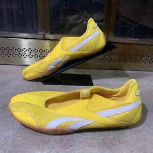 Vintage Reebok Yellow White Slip On Trainers Sneakers Shoes Mens Sz 10.5 Vtg