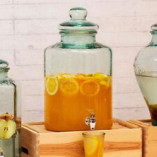 Large 12.5L Round Glass Drinks Dispenser Cold Juice Water Cocktail Beverage Jar