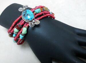 Artisan Turquoise, Sterling, Amber & Glass Beads, Vintage Bracelet