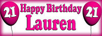 2x Personalised Balloons Birthday party banners. Any name & Age balloon banner