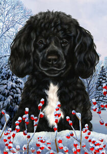 Winter House Flag - Black and White Portuguese Water Dog 15489