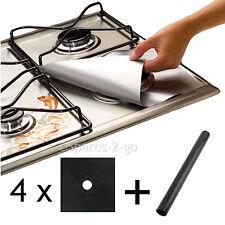 4 X universale in Teflon Piano cottura a gas nero Protector & Heavy Duty Forno Rivestimento Antiaderente
