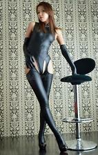 Sexy Womens PVC Wetlook Catsuit Bodysuit Crotchless Pantyhose Outfits Jumpsuit