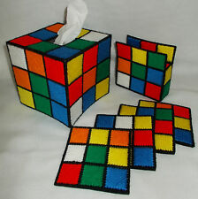 Plastic Canvas Rubik's Cube Tissue Box & Coaster Set, as on The Big Bang Theory