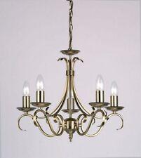 Bernice Traditionnel laiton ancien 5 clair fixation plafond pendentif lustre