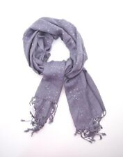 Long Scarf ~ Lavender Sequined with Fringe ~ Rayon Soft Scarf ~ New