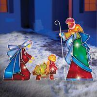 3 Pc. Lighted Mosaic Joseph, Mary & Jesus Nativity Scene Christmas Decoration