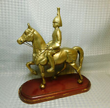 Solid Brass Figure Mounted Military Household Cavalry Soldier Collectible