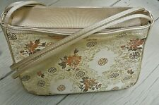 GOLD BOXY SHOULDER BAG TIANNI ASIAN INSPIRED CANVAS SILK PEONY EMBROIDERY ZIP