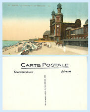 Dieppe France Le Casino Terrasses Beach Clock Tower c1912 Postcard - Scarce