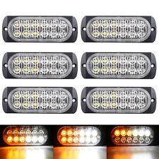 6x 12 LED Flash Recovery Car Emergency Strobe Light Grill Breakdown Yellow white