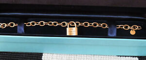 Authentic Tiffany & Co 18ct Gold Padlock Bracelet Full Hallmarks RARE