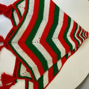 Vintage knit crochet tree skirt red green striped tassels Christmas holiday