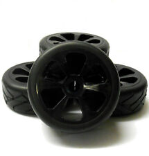 Hs281007b 1/8 on road street Tread car RC wheels and tyres 5 Spoke Black X 4