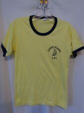 Vintage 70s CAYMAN ISLAND B.W.I. Duo-Color TEE SHIRT Yellow Camp Looking Sz S