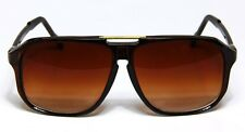 Retro Aviator Sunglasses Brown Vintage Flat Top Hip Hop Big Turbo Evidence