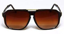 Retro Aviator Sunglasses Brown Vintage Flat Top Hip Hop Big Turbo Evidence