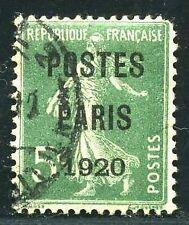 """FRANCE PREO N° 24  """" SEMEUSE 5 c VERT POSTES FRANCE 1920  """"  OBLITERE."""