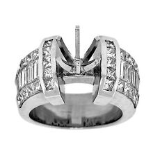2.75ct Channel Invisible Diamond Semi-Mount Wedding Engagement in 18K White Gold