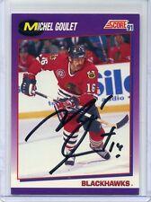 Michel Goulet HOF signed autographed Blackhawks 1991 Score card #201