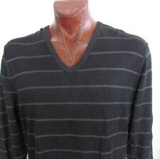 NWT Calvin Klein Jeans V-Neck Sweater Pullover Black Striped Size XL