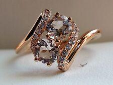 NEW Pink Morganite & Sapphire Bypass Swirl Ring Band - 10K Rose Gold- Sz 7