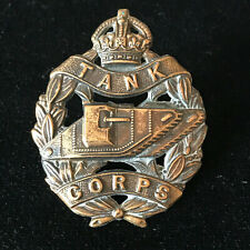 WW1 Tank Corps Brass Cap Badge Military Genuine British Army 22/1
